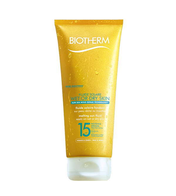Creme Solaire. BIOTHERM Fluide Solaire Wet Or Dry SPF15 200ml