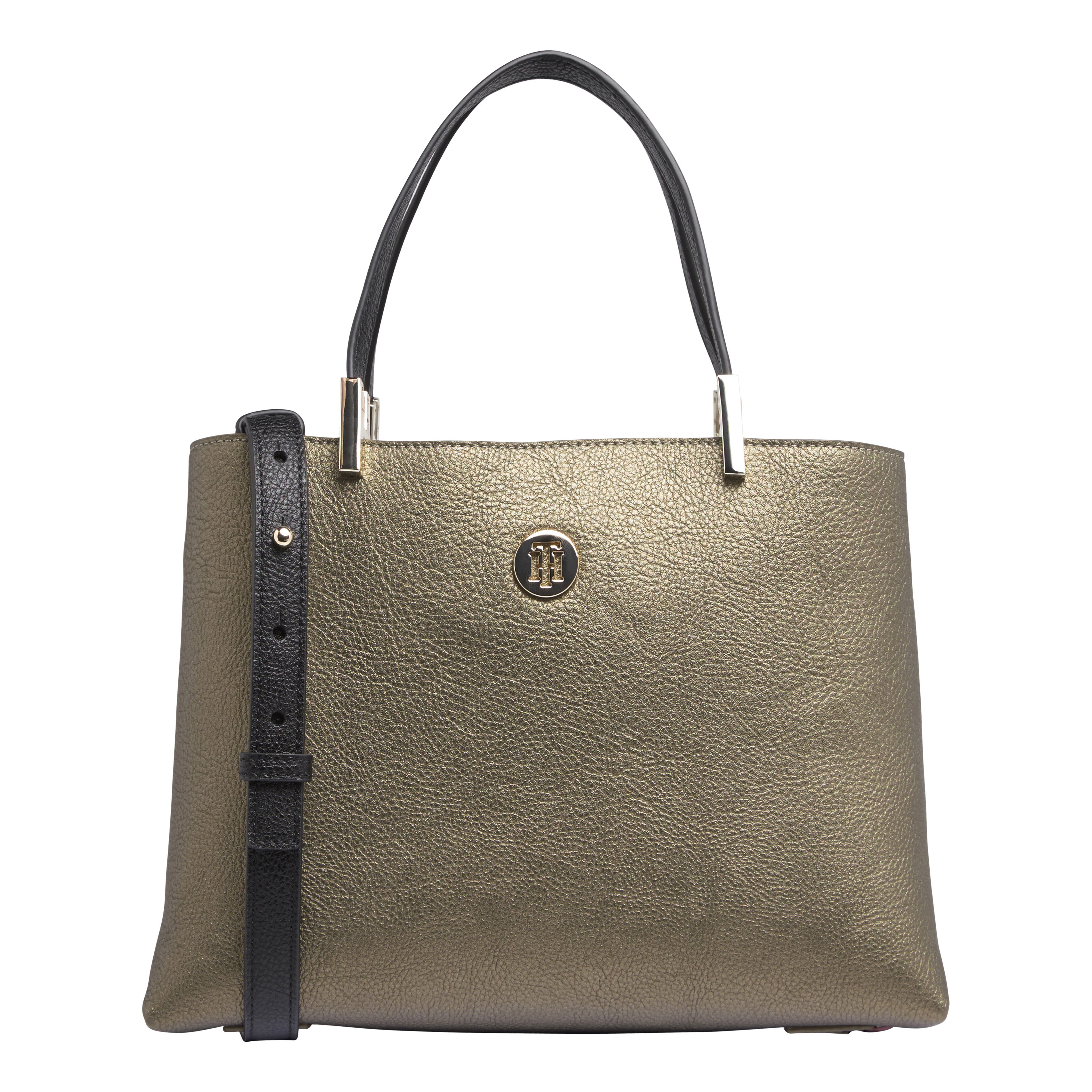 TOMMY HILFIGER Marroquinería Satchel Gold Metallic & Blac AW0AW07685-PD0